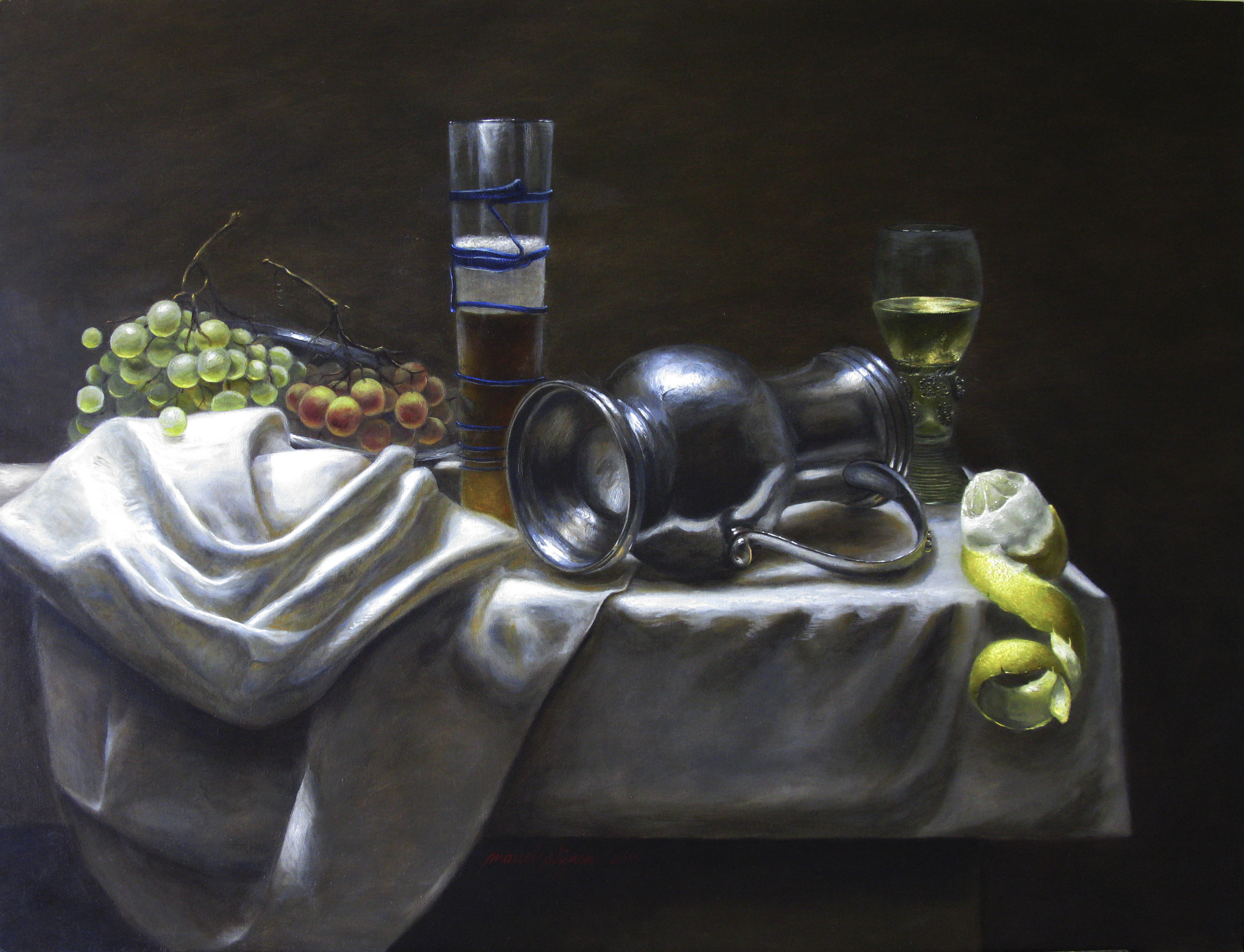 Still life with reclining pewter